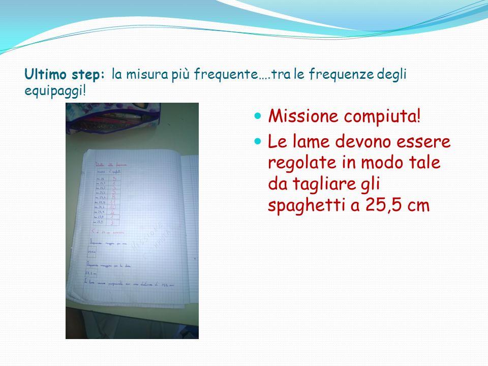 Ultimo step: la misura più frequente….tra le frequenze degli equipaggi! Missione compiuta! Le lame devono essere regolate in modo tale da tagliare gli