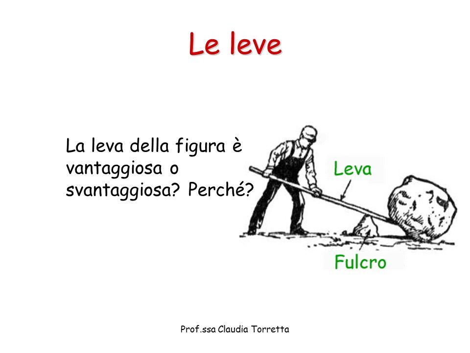 Le leve La leva della figura è vantaggiosa o svantaggiosa? Perché? Prof.ssa Claudia Torretta
