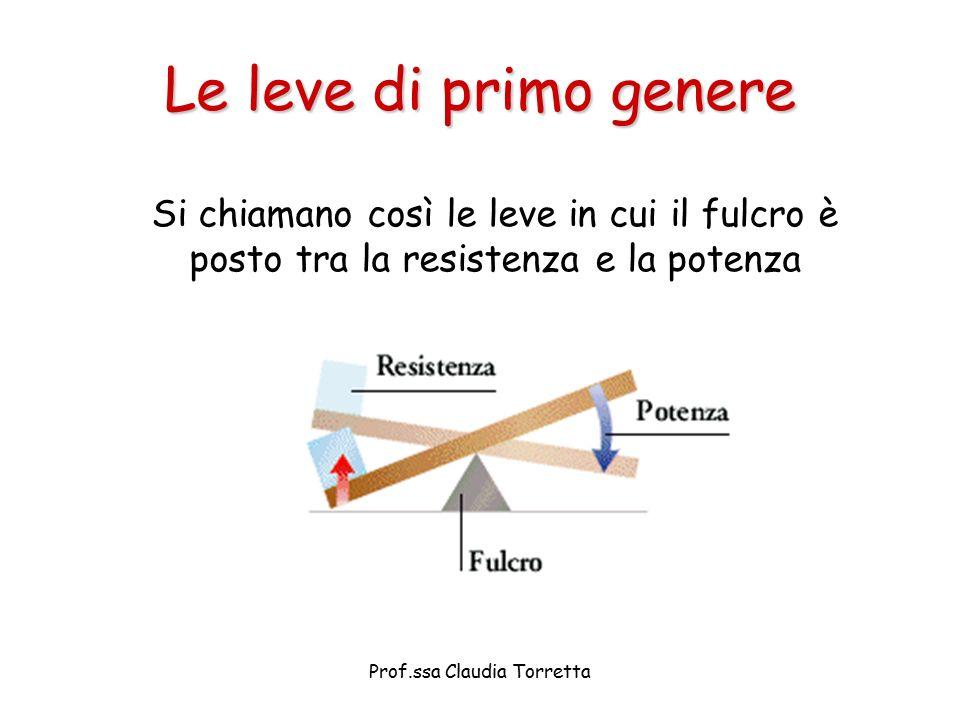 Le leve di primo genere Si chiamano così le leve in cui il fulcro è posto tra la resistenza e la potenza Prof.ssa Claudia Torretta