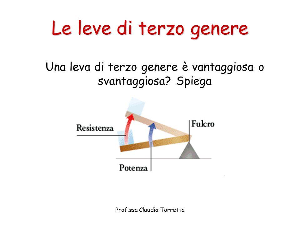 Le leve di terzo genere Una leva di terzo genere è vantaggiosa o svantaggiosa? Spiega Prof.ssa Claudia Torretta