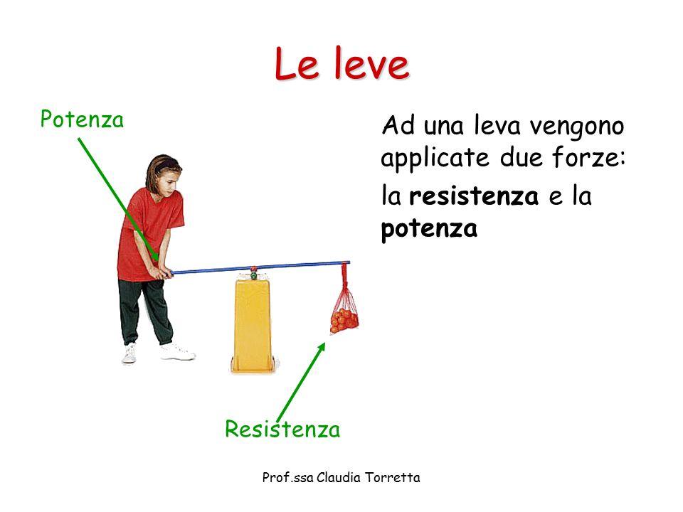 Le leve Ad una leva vengono applicate due forze: la resistenza e la potenza Potenza Resistenza Prof.ssa Claudia Torretta