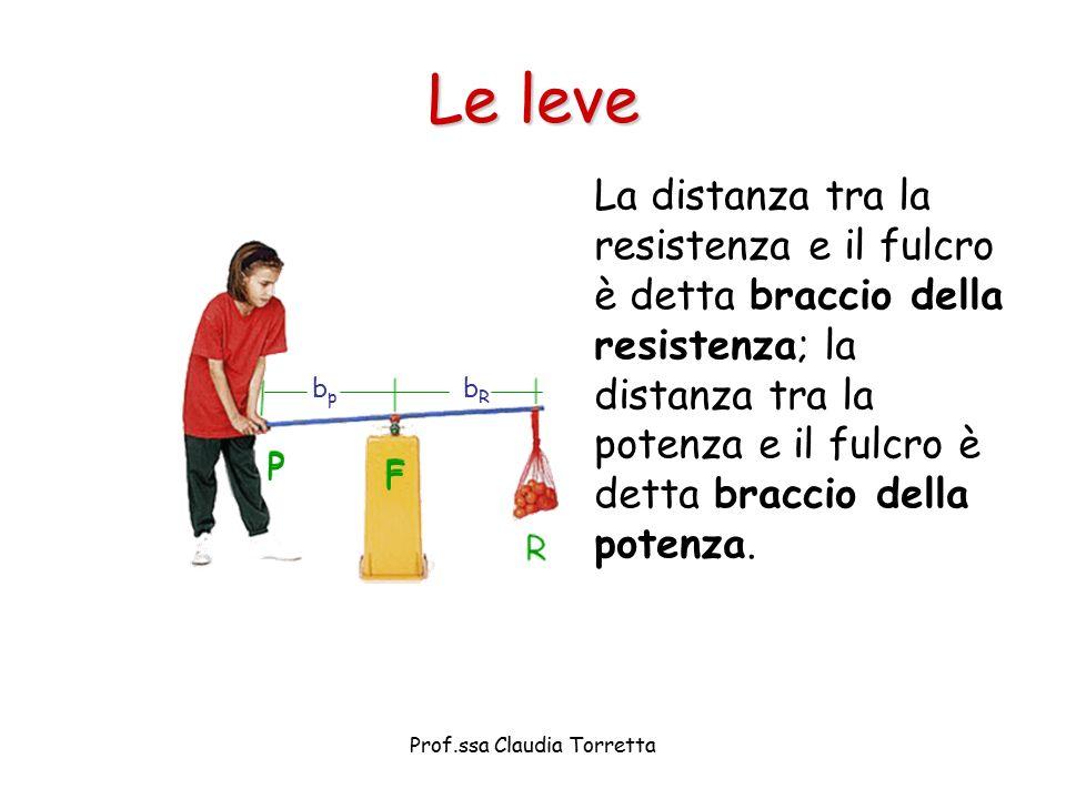 Le leve La distanza tra la resistenza e il fulcro è detta braccio della resistenza; la distanza tra la potenza e il fulcro è detta braccio della poten
