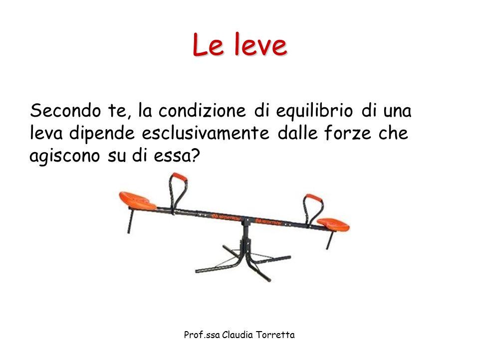 Secondo te, la condizione di equilibrio di una leva dipende esclusivamente dalle forze che agiscono su di essa? Le leve Prof.ssa Claudia Torretta