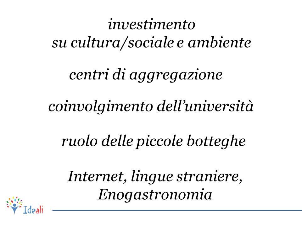 investimento su cultura/sociale e ambiente centri di aggregazione coinvolgimento dell'università ruolo delle piccole botteghe Internet, lingue stranie
