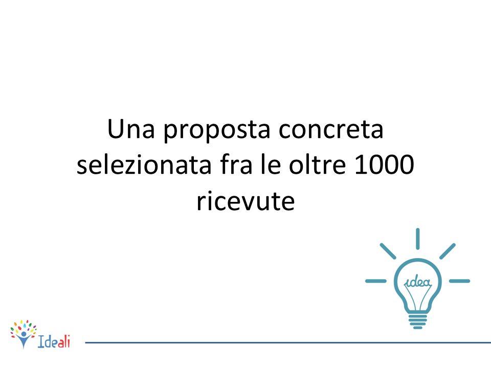Una proposta concreta selezionata fra le oltre 1000 ricevute