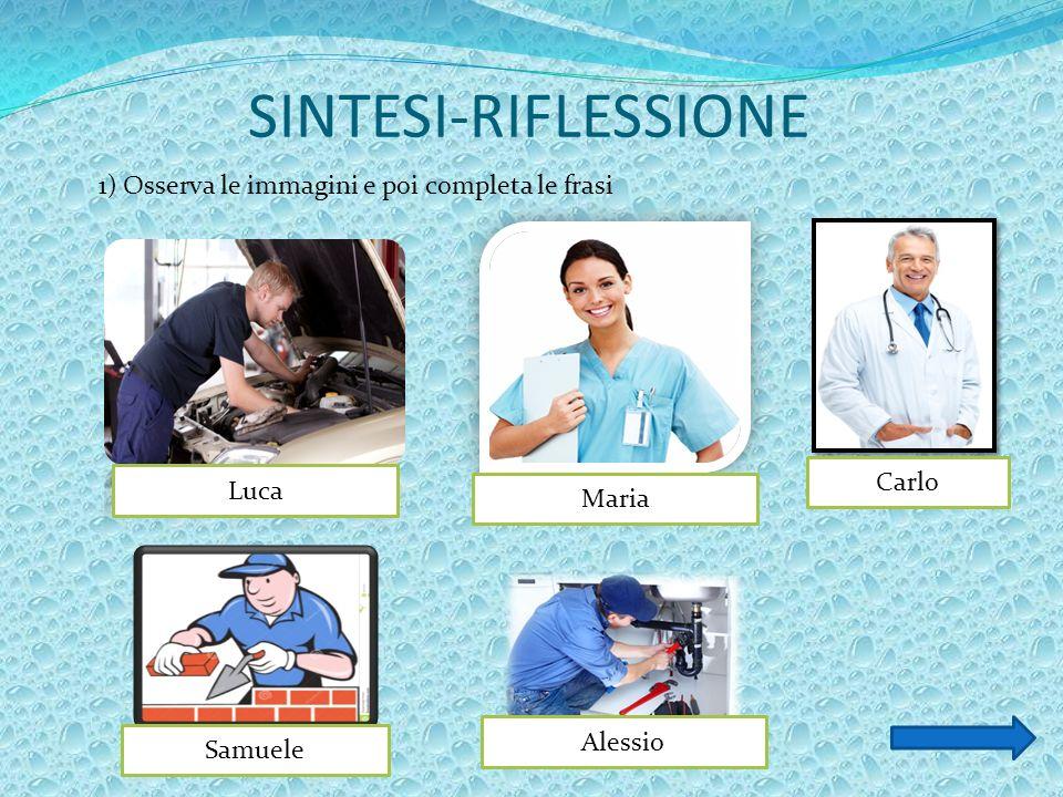 SINTESI-RIFLESSIONE 1) Osserva le immagini e poi completa le frasi Luca Maria Carlo Alessio Samuele