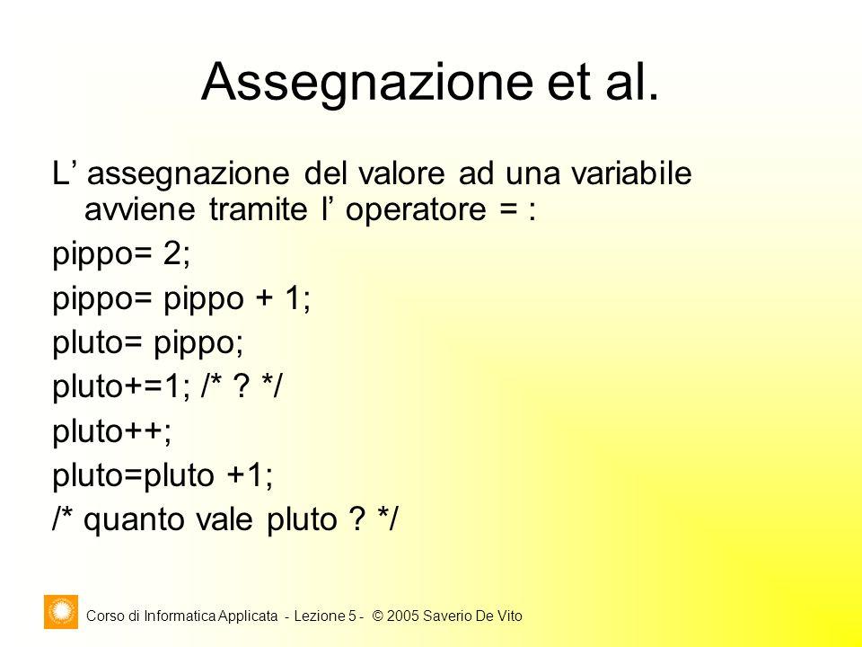 Corso di Informatica Applicata - Lezione 5 - © 2005 Saverio De Vito Assegnazione et al.