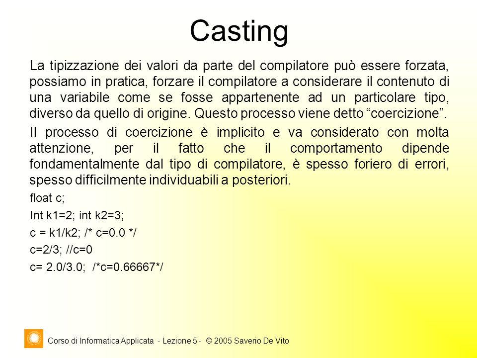 Corso di Informatica Applicata - Lezione 5 - © 2005 Saverio De Vito Casting La tipizzazione dei valori da parte del compilatore può essere forzata, possiamo in pratica, forzare il compilatore a considerare il contenuto di una variabile come se fosse appartenente ad un particolare tipo, diverso da quello di origine.