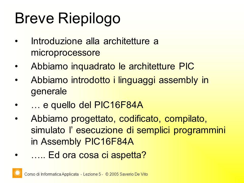 Corso di Informatica Applicata - Lezione 5 - © 2005 Saverio De Vito Introduzione alla architetture a microprocessore Abbiamo inquadrato le architetture PIC Abbiamo introdotto i linguaggi assembly in generale … e quello del PIC16F84A Abbiamo progettato, codificato, compilato, simulato l' esecuzione di semplici programmini in Assembly PIC16F84A …..