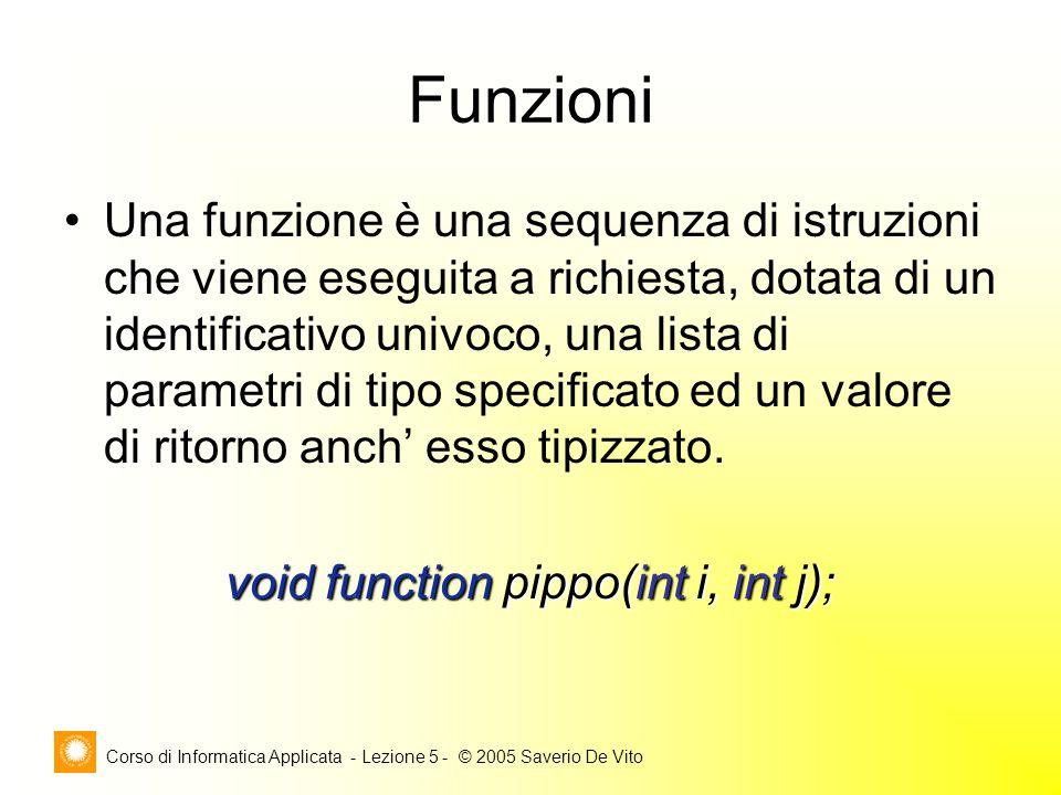 Corso di Informatica Applicata - Lezione 5 - © 2005 Saverio De Vito Funzioni Una funzione è una sequenza di istruzioni che viene eseguita a richiesta, dotata di un identificativo univoco, una lista di parametri di tipo specificato ed un valore di ritorno anch' esso tipizzato.