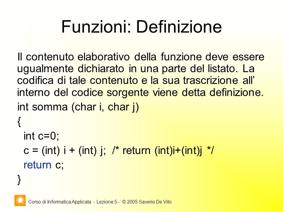 Corso di Informatica Applicata - Lezione 5 - © 2005 Saverio De Vito Funzioni: Definizione Il contenuto elaborativo della funzione deve essere ugualmente dichiarato in una parte del listato.