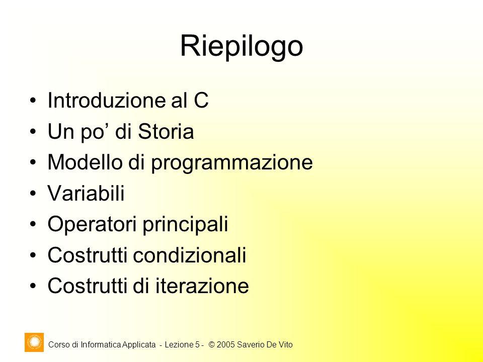 Corso di Informatica Applicata - Lezione 5 - © 2005 Saverio De Vito Riepilogo Introduzione al C Un po' di Storia Modello di programmazione Variabili Operatori principali Costrutti condizionali Costrutti di iterazione