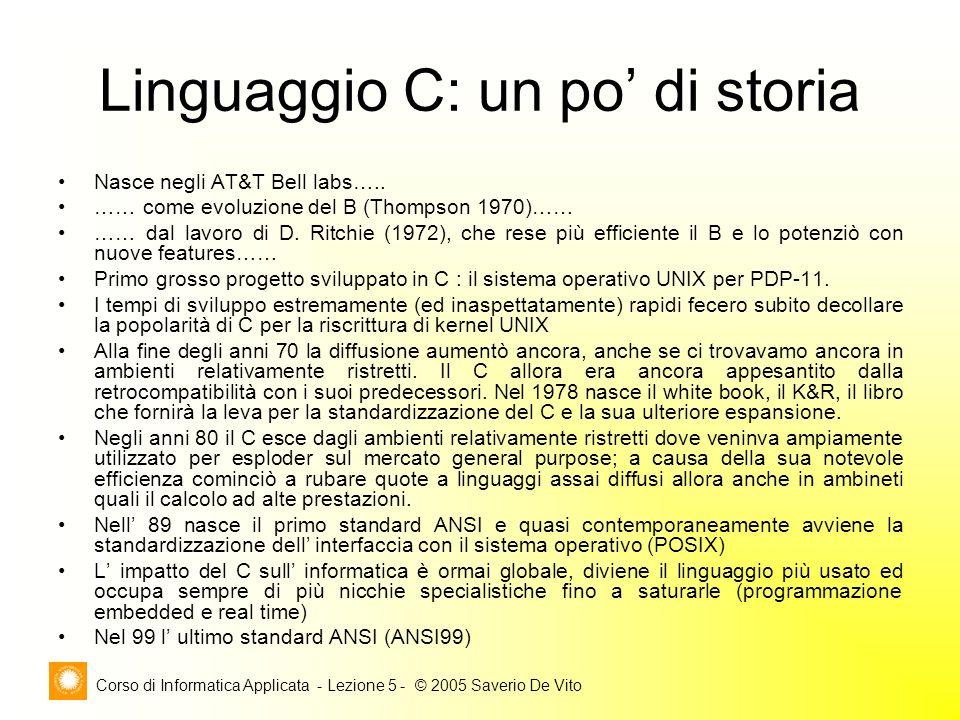 Corso di Informatica Applicata - Lezione 5 - © 2005 Saverio De Vito Linguaggio C: un po' di storia Nasce negli AT&T Bell labs…..