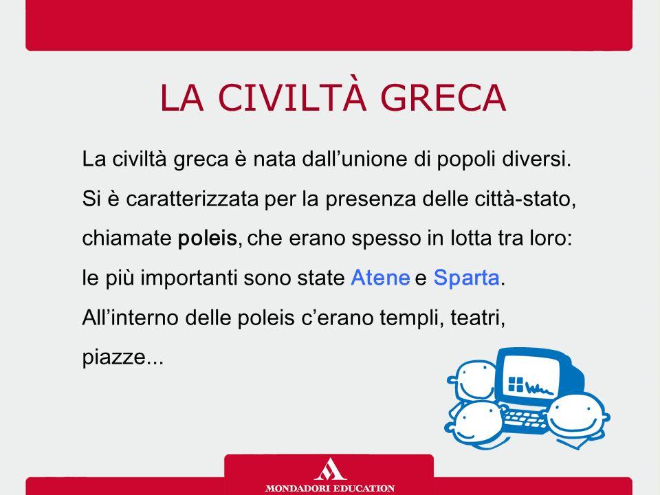 LA CIVILTÀ GRECA La civiltà greca è nata dall'unione di popoli diversi.