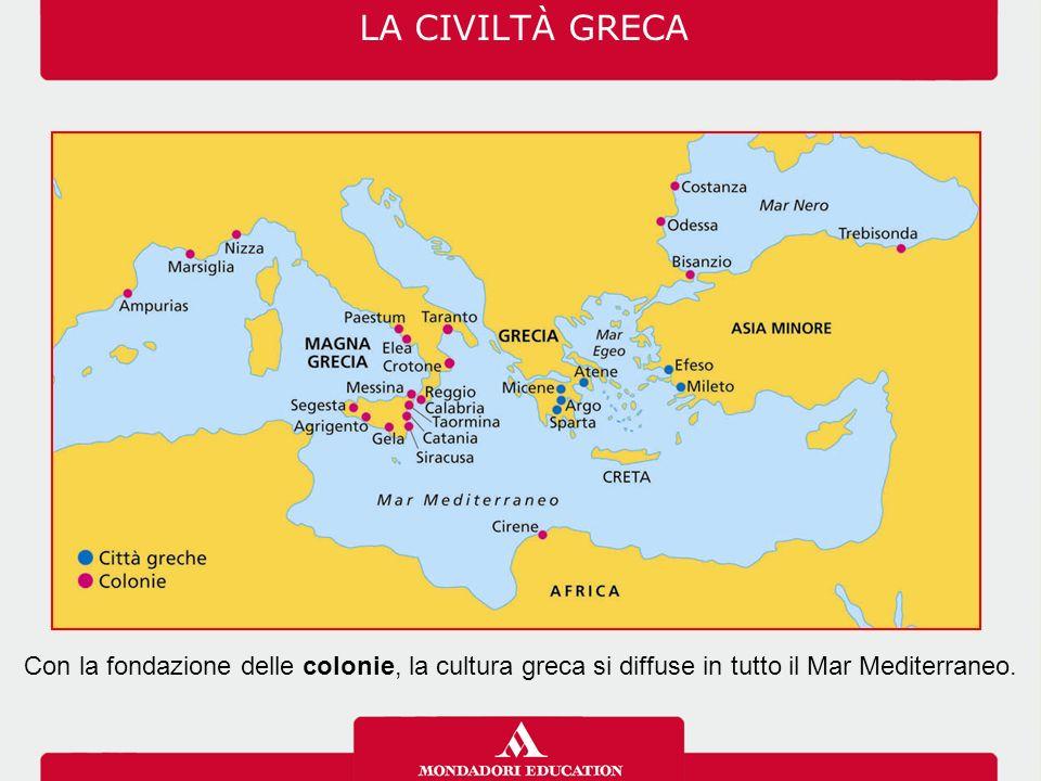 Con la fondazione delle colonie, la cultura greca si diffuse in tutto il Mar Mediterraneo.
