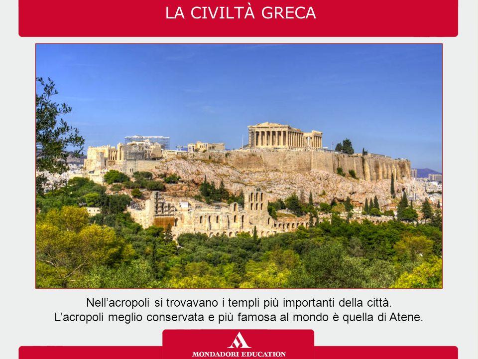 LA CIVILTÀ GRECA Nell'acropoli si trovavano i templi più importanti della città.