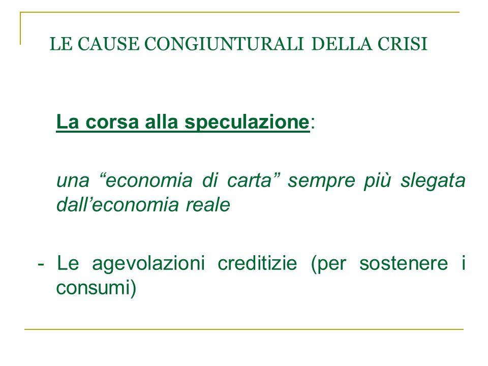 """LE CAUSE CONGIUNTURALI DELLA CRISI La corsa alla speculazione: una """"economia di carta"""" sempre più slegata dall'economia reale - Le agevolazioni credit"""