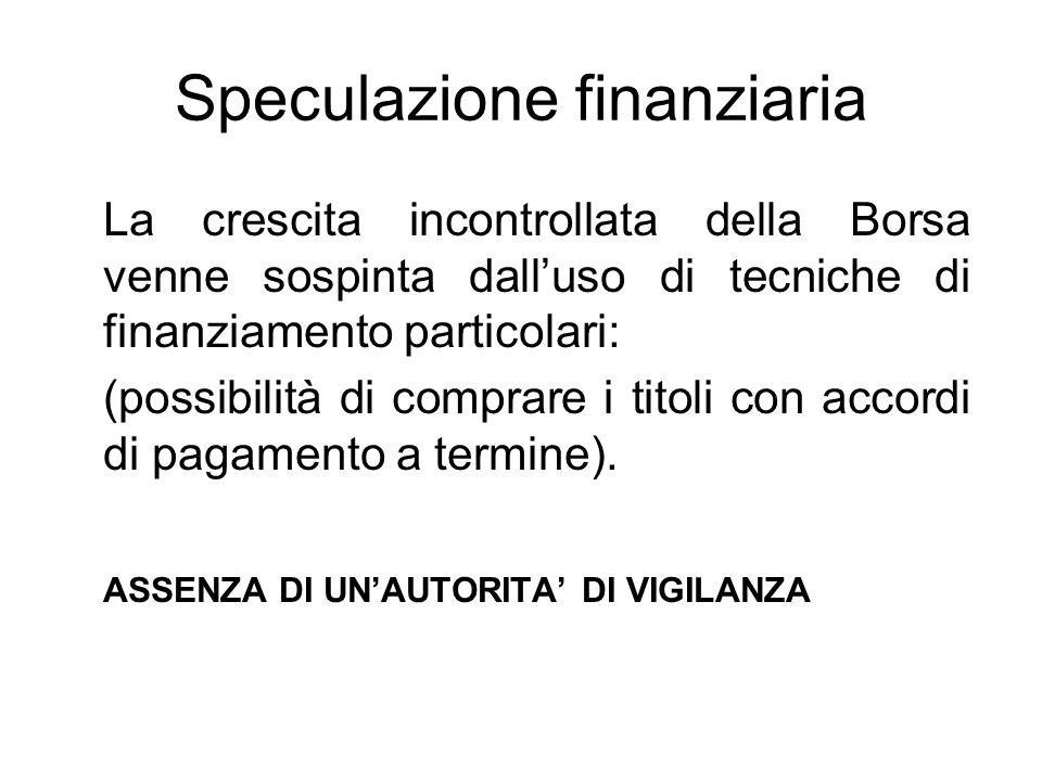 Speculazione finanziaria La crescita incontrollata della Borsa venne sospinta dall'uso di tecniche di finanziamento particolari: (possibilità di compr
