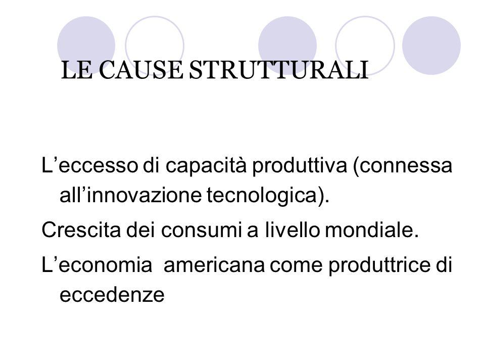 LE CAUSE STRUTTURALI L'eccesso di capacità produttiva (connessa all'innovazione tecnologica). Crescita dei consumi a livello mondiale. L'economia amer