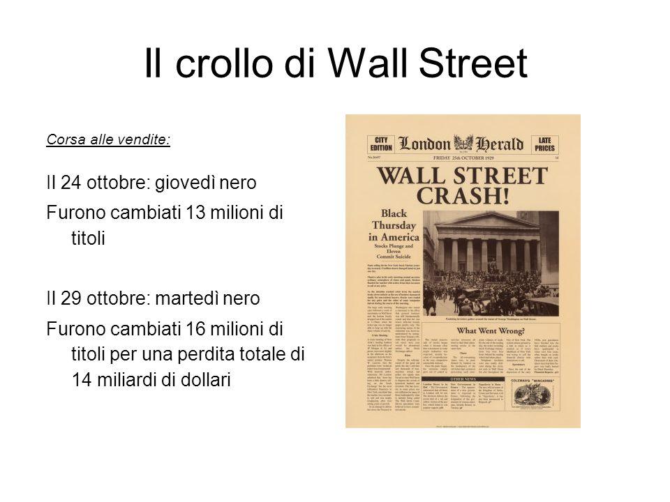Il crollo di Wall Street Corsa alle vendite: Il 24 ottobre: giovedì nero Furono cambiati 13 milioni di titoli Il 29 ottobre: martedì nero Furono cambi