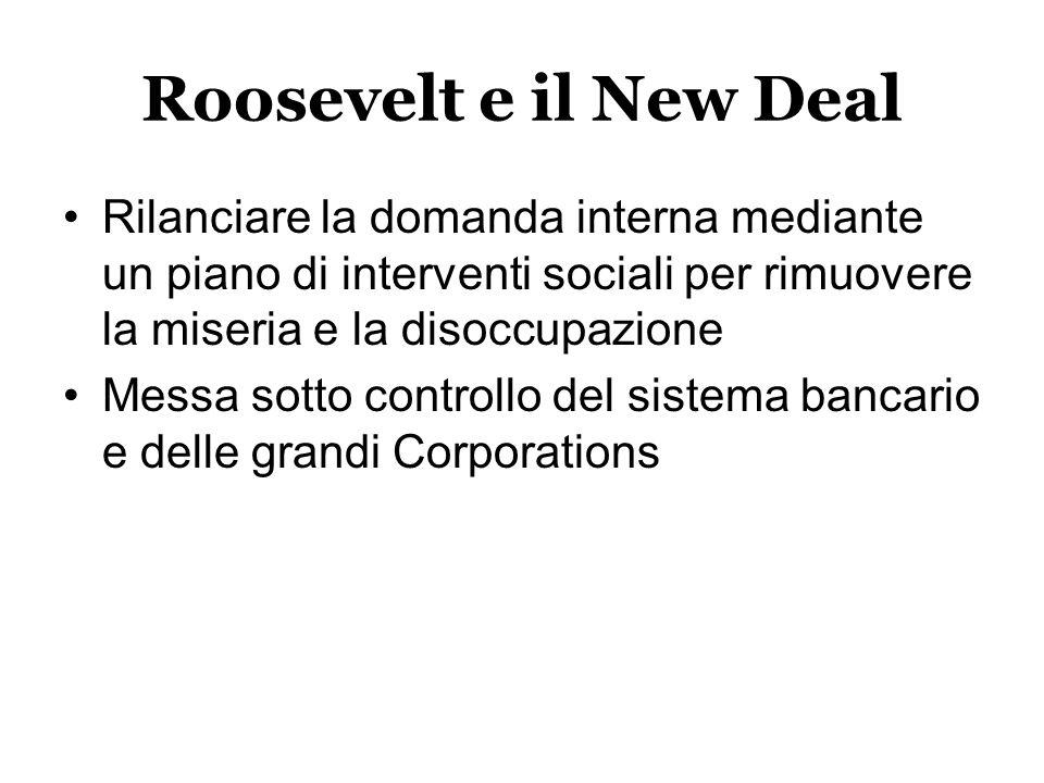 Roosevelt e il New Deal Rilanciare la domanda interna mediante un piano di interventi sociali per rimuovere la miseria e la disoccupazione Messa sotto