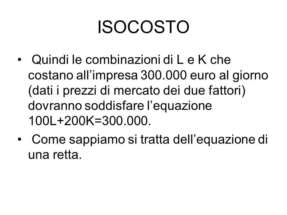 ISOCOSTO Quindi le combinazioni di L e K che costano all'impresa 300.000 euro al giorno (dati i prezzi di mercato dei due fattori) dovranno soddisfare l'equazione 100L+200K=300.000.