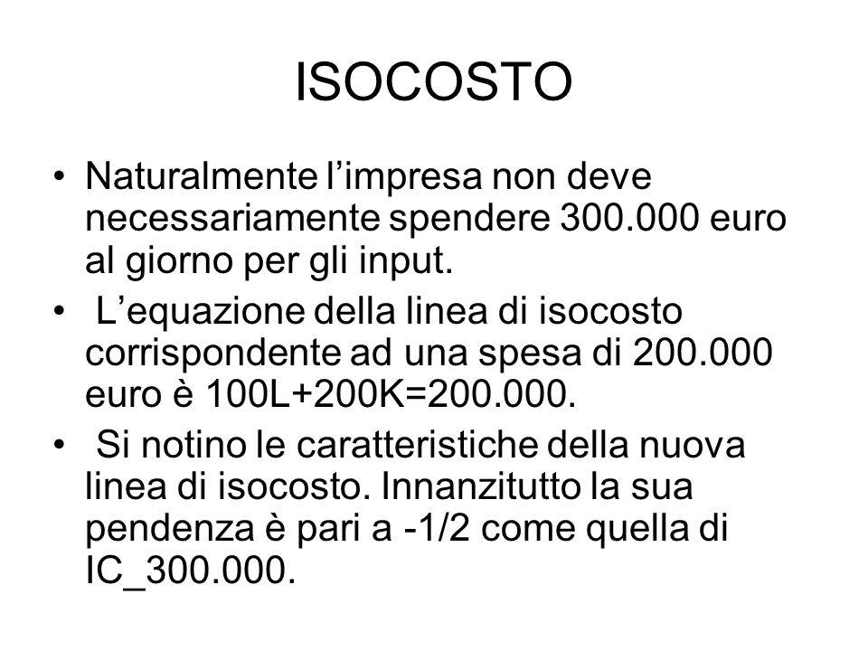 ISOCOSTO Naturalmente l'impresa non deve necessariamente spendere 300.000 euro al giorno per gli input.