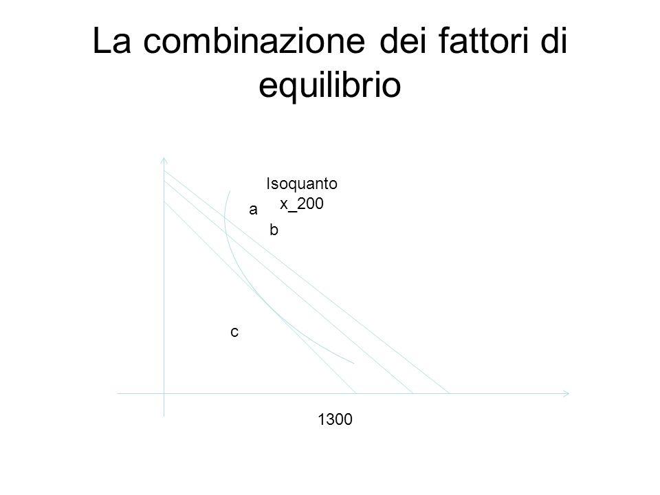 La combinazione dei fattori di equilibrio Isoquanto x_200 a b c 1300
