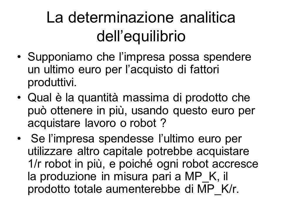 La determinazione analitica dell'equilibrio Supponiamo che l'impresa possa spendere un ultimo euro per l'acquisto di fattori produttivi.