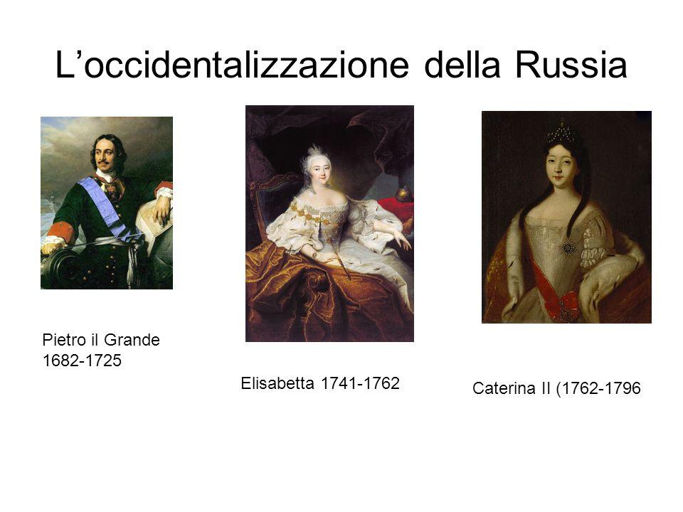 L'occidentalizzazione della Russia Pietro il Grande 1682-1725 Elisabetta 1741-1762 Caterina II (1762-1796