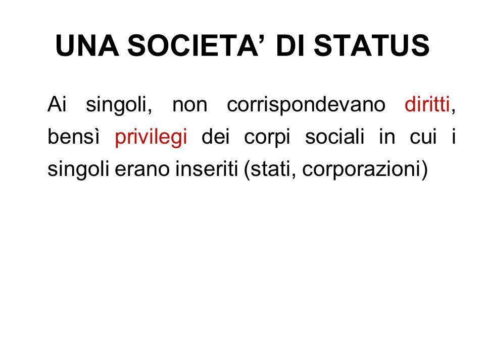 UNA SOCIETA' DI STATUS Ai singoli, non corrispondevano diritti, bensì privilegi dei corpi sociali in cui i singoli erano inseriti (stati, corporazioni)