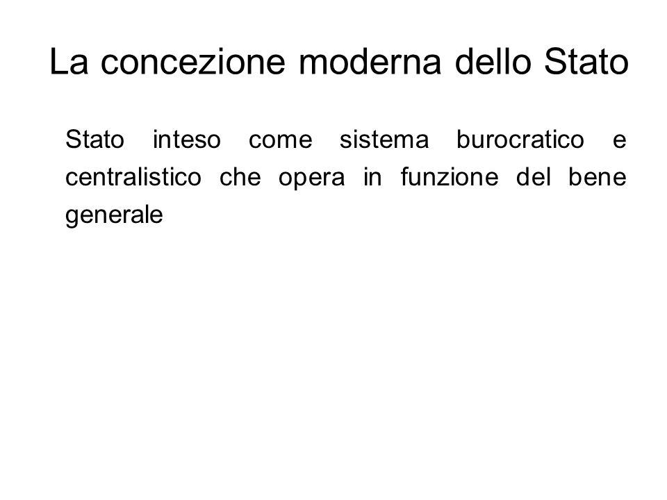 La concezione moderna dello Stato Stato inteso come sistema burocratico e centralistico che opera in funzione del bene generale