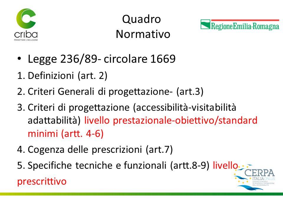 Quadro Normativo Legge 236/89- circolare 1669 1.Definizioni (art.