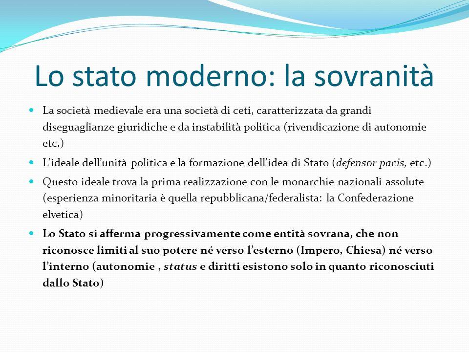 Lo stato moderno: la sovranità La società medievale era una società di ceti, caratterizzata da grandi diseguaglianze giuridiche e da instabilità polit