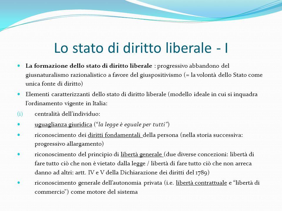 Lo stato di diritto liberale - I La formazione dello stato di diritto liberale : progressivo abbandono del giusnaturalismo razionalistico a favore del