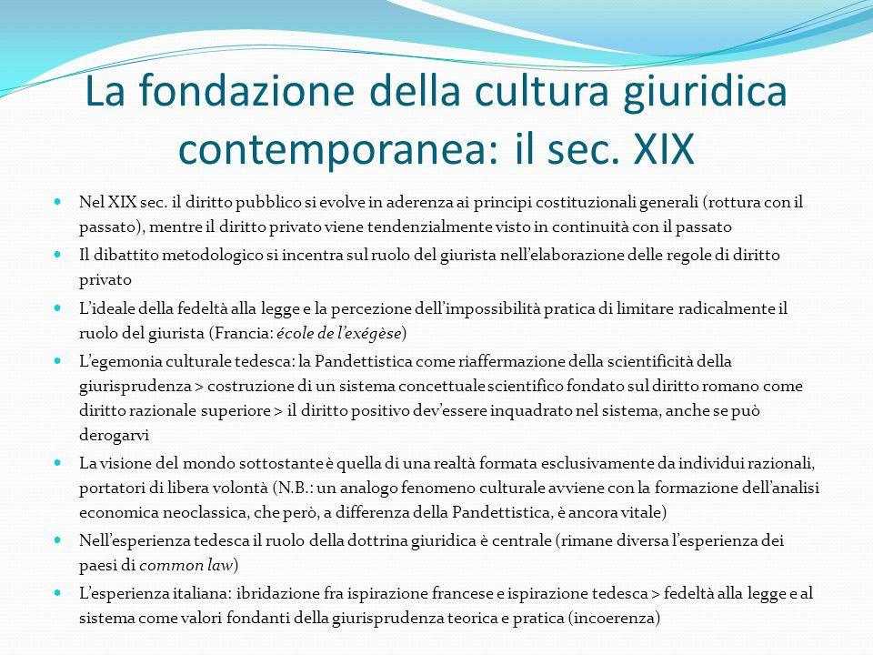 La fondazione della cultura giuridica contemporanea: il sec. XIX Nel XIX sec. il diritto pubblico si evolve in aderenza ai principi costituzionali gen