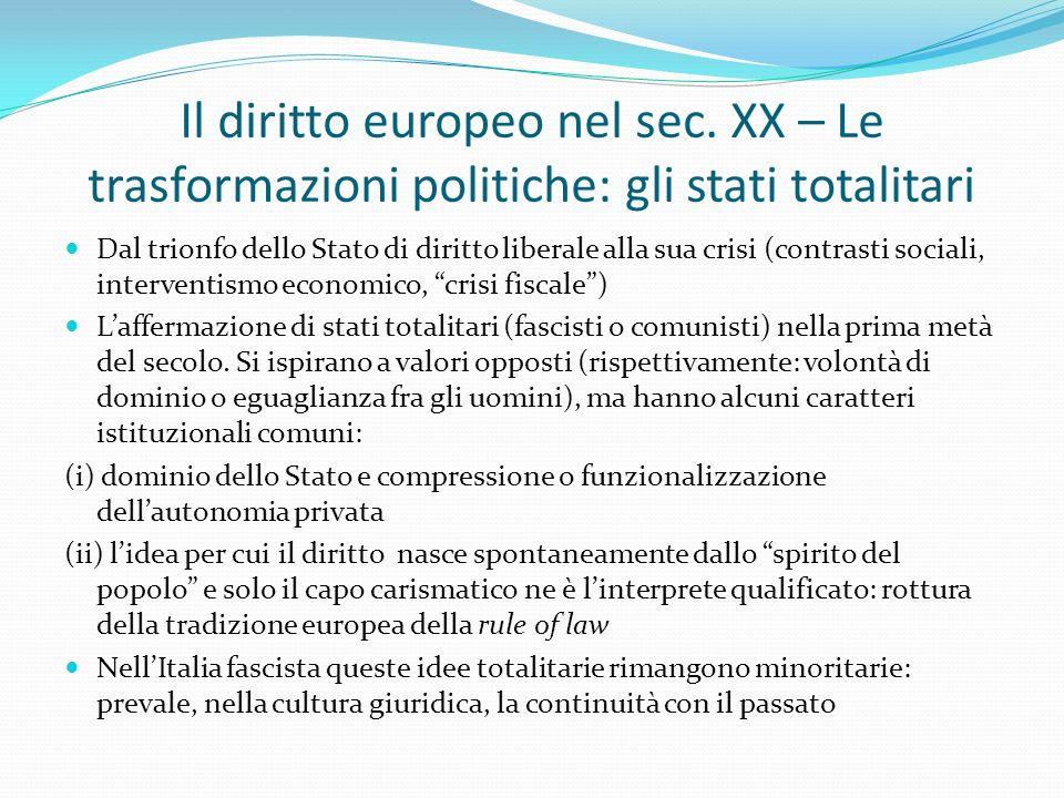 Il diritto europeo nel sec. XX – Le trasformazioni politiche: gli stati totalitari Dal trionfo dello Stato di diritto liberale alla sua crisi (contras