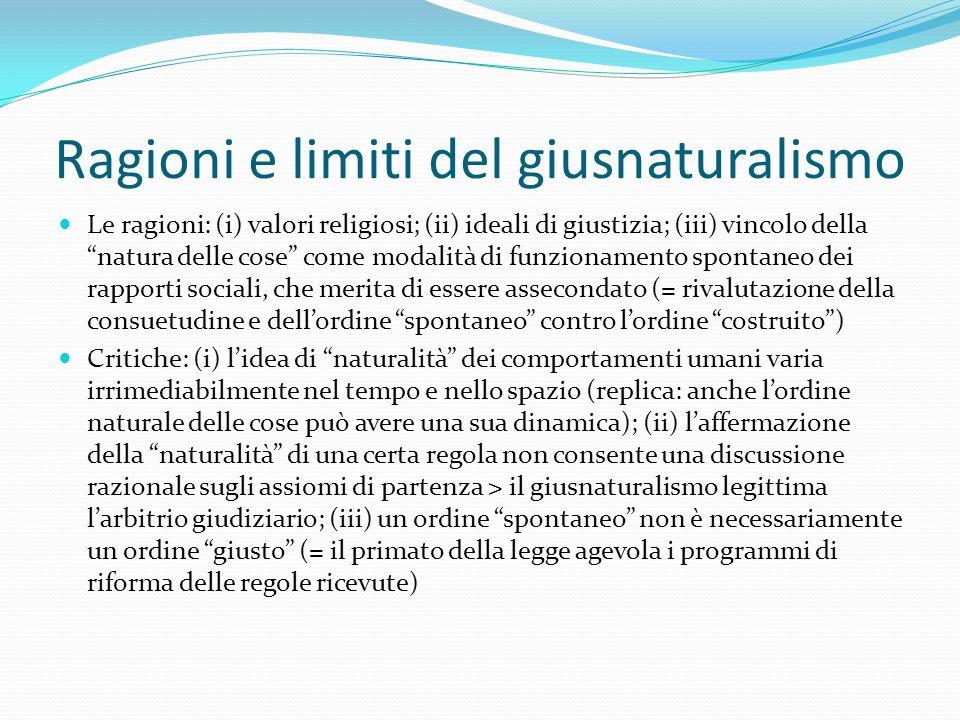 """Ragioni e limiti del giusnaturalismo Le ragioni: (i) valori religiosi; (ii) ideali di giustizia; (iii) vincolo della """"natura delle cose"""" come modalità"""