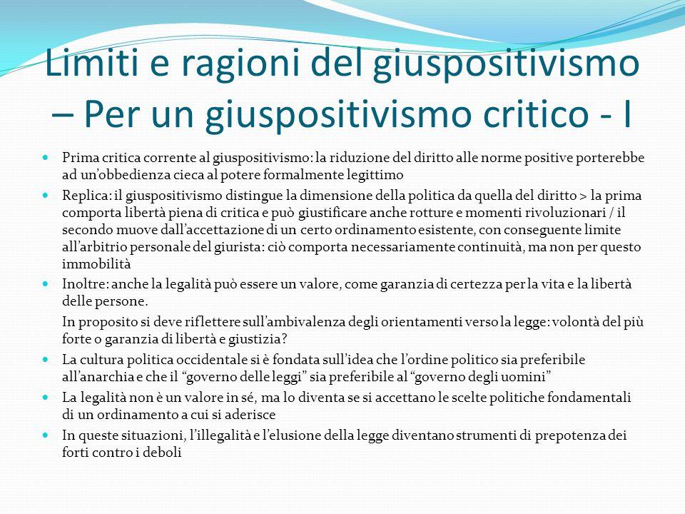 Limiti e ragioni del giuspositivismo – Per un giuspositivismo critico - I Prima critica corrente al giuspositivismo: la riduzione del diritto alle nor