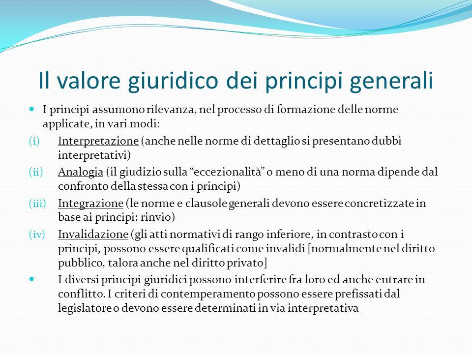 Il valore giuridico dei principi generali I principi assumono rilevanza, nel processo di formazione delle norme applicate, in vari modi: (i) Interpret
