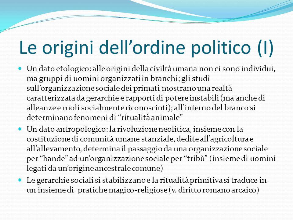 Le origini dell'ordine politico (I) Un dato etologico: alle origini della civiltà umana non ci sono individui, ma gruppi di uomini organizzati in bran