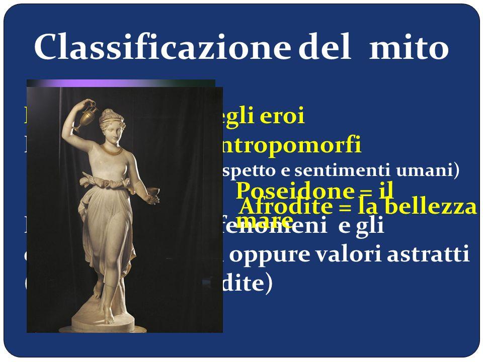Classificazione del mito Miti degli dèi e degli eroi Presenza di Dèi antropomorfi (antropomorfi = con aspetto e sentimenti umani) Rappresentano i feno