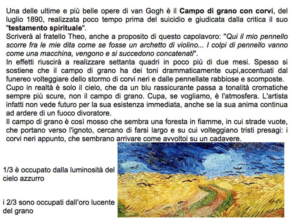 Una delle ultime e più belle opere di van Gogh è il Campo di grano con corvi, del luglio 1890, realizzata poco tempo prima del suicidio e giudicata dalla critica il suo testamento spirituale .