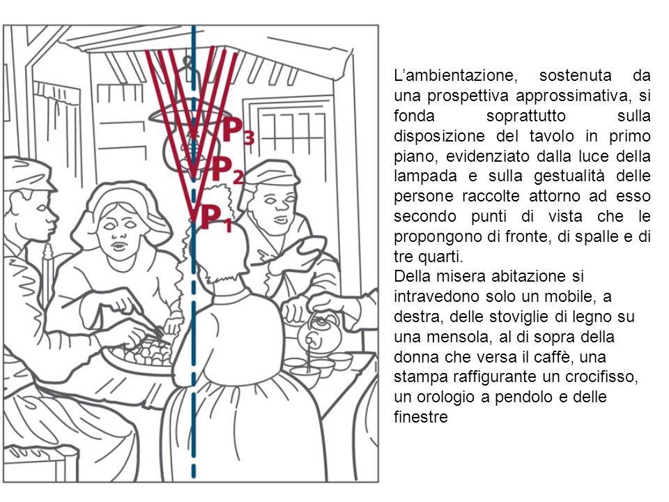 L'ambientazione, sostenuta da una prospettiva approssimativa, si fonda soprattutto sulla disposizione del tavolo in primo piano, evidenziato dalla luce della lampada e sulla gestualità delle persone raccolte attorno ad esso secondo punti di vista che le propongono di fronte, di spalle e di tre quarti.