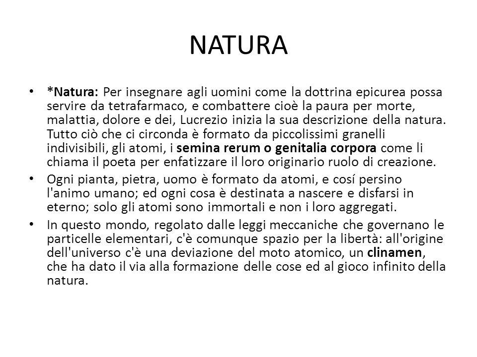 NATURA *Natura: Per insegnare agli uomini come la dottrina epicurea possa servire da tetrafarmaco, e combattere cioè la paura per morte, malattia, dol
