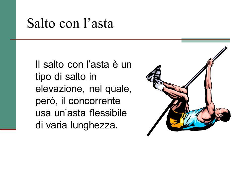 Salto in Alto Nel salto in alto gli atleti devono superare, senza abbatterla, un'asticella che poggia tra due paletti, distanti tra loro circa 4 m. Ci