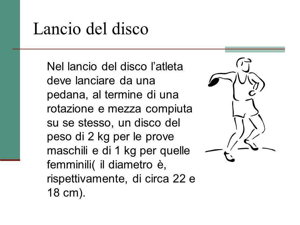 Lancio del peso Nel lancio del peso l'atleta deve gettare, da una pedana, e con una sola mano, una sfera di ferro o bronzo piena di piombo, del diamet