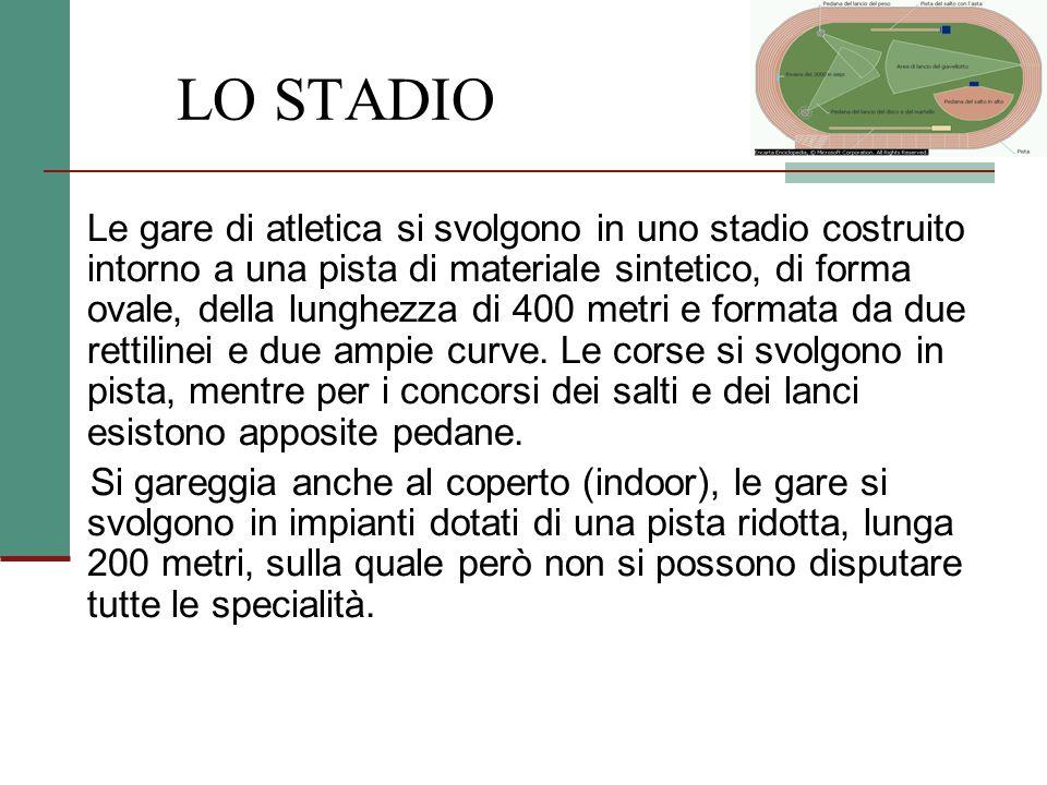 ATLETICA LEGGERA E' una pratica sportiva che si svolge in uno stadio e si compone di numerose specialità suddivise in tre discipline fondamentali: cor