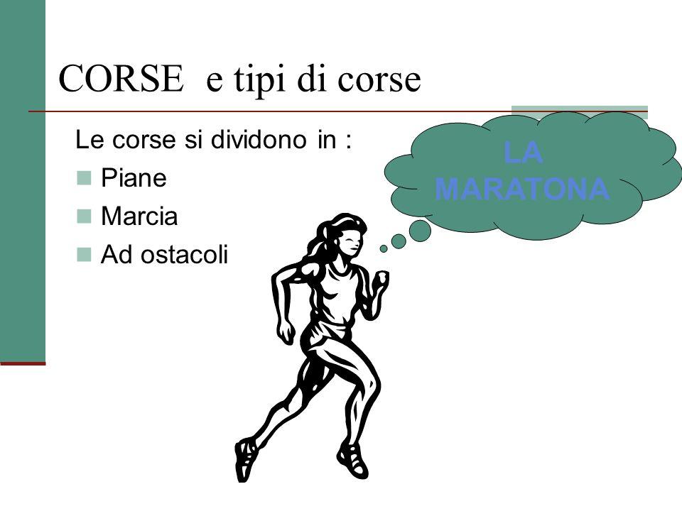 LA CORSA - tipi di gare Le gare di corsa comprendono: le gare in serie. Nelle quali gli atleti vengono suddivisi in gruppi con lo scopo di passare ai