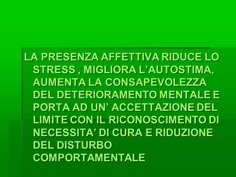 LA PRESENZA AFFETTIVA RIDUCE LO STRESS, MIGLIORA L'AUTOSTIMA, AUMENTA LA CONSAPEVOLEZZA DEL DETERIORAMENTO MENTALE E PORTA AD UN' ACCETTAZIONE DEL LIMITE CON IL RICONOSCIMENTO DI NECESSITA' DI CURA E RIDUZIONE DEL DISTURBO COMPORTAMENTALE